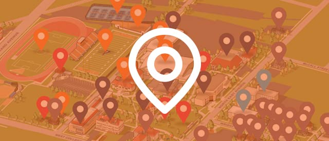 Illustration of campus with map marker icon