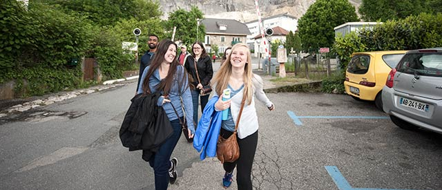 Students walking in Geneva, Switzerland