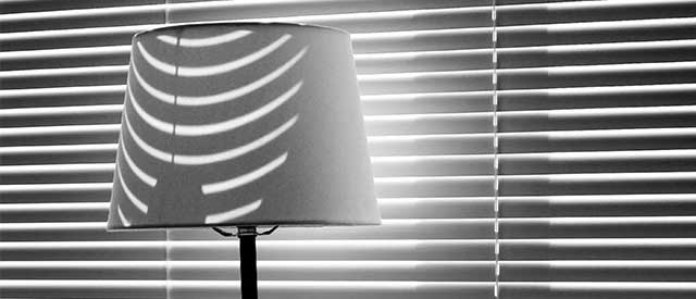 image of a lamp and blinds