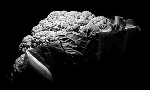 image of black and white cauliflower