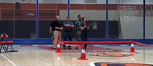 Seminar students flying drones