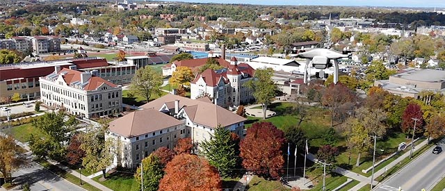 Campus aerial with drone