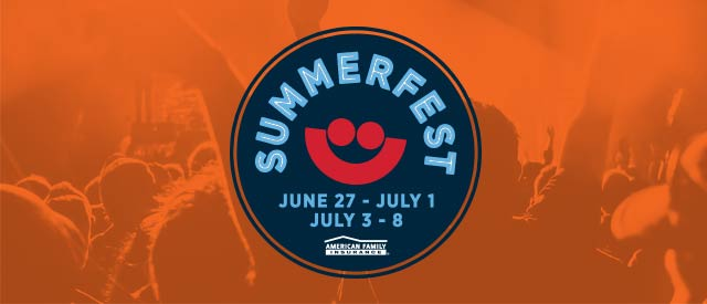 Summerfest logo on an orange background of concertgoers