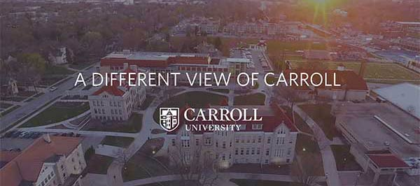 Drone footage of Carroll University campus