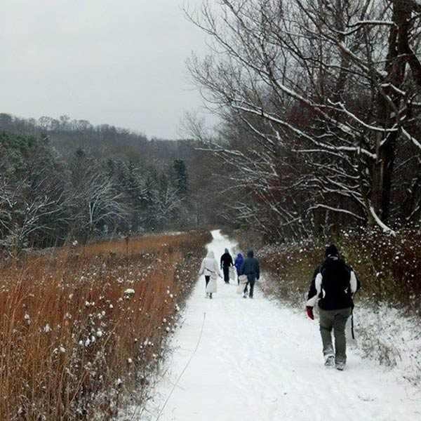 students on a winter hike