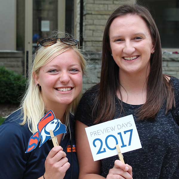 Image of two students at preview day