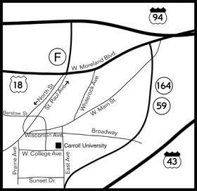 Directions to Campus | Carroll University on bluffton university campus map, rockford university map, midwestern university campus map, capital university campus map, furman university campus map, massachusetts institute of technology campus map, montclair state university campus map, ball state university campus map, lawrence university campus map, rockford il map, maine maritime academy campus map, rockford park map, university of rochester campus map, depauw university campus map, susquehanna university campus map, michigan state university campus map, rockford illinois, rockford seminary,