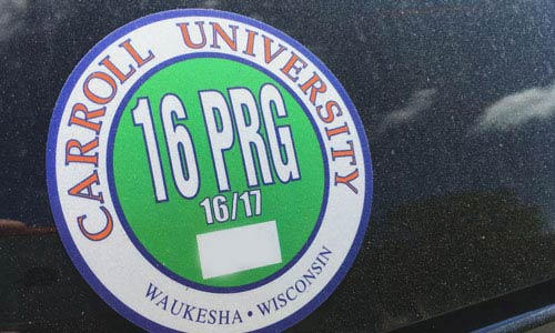 resident sticker on car