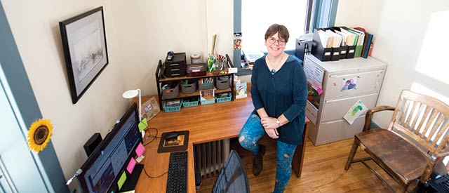 Sue Lewis in her office