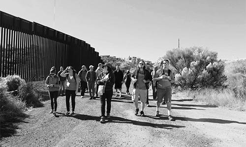 students walking at the border