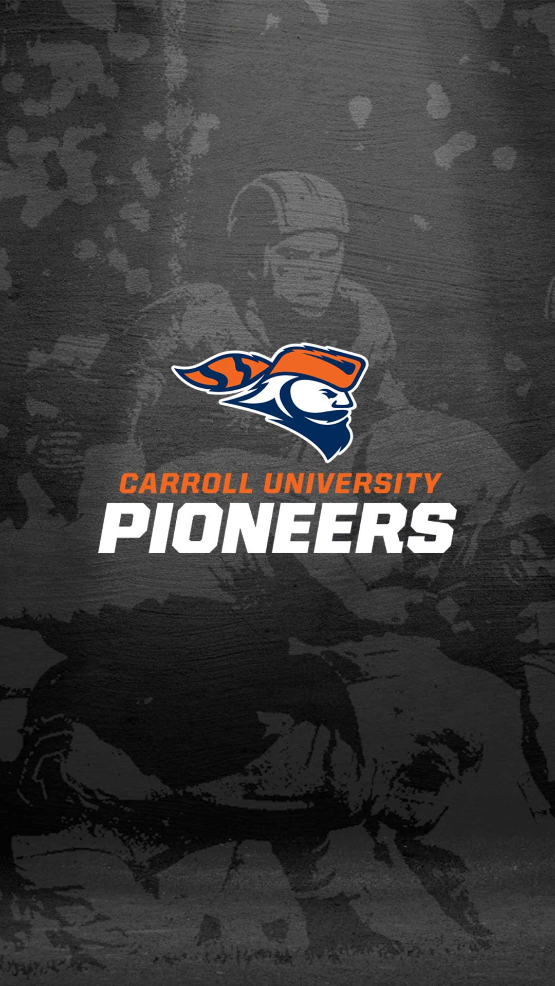 carroll university pioneers logo over throwback football background
