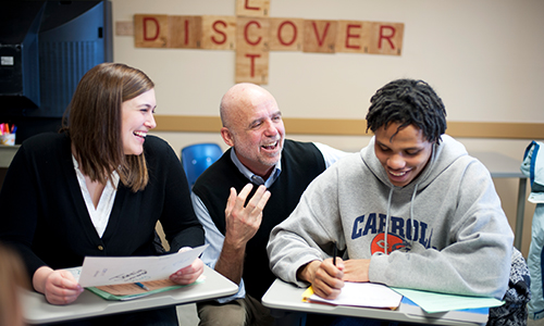 Carroll University professor with students in classroom