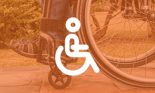 image of wheelchair with orange overlay and icon